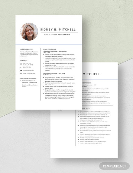 Applications Programmer Resume Download