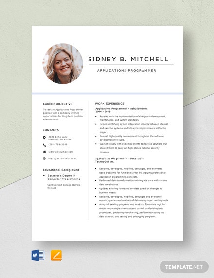 Applications Programmer Resume Template