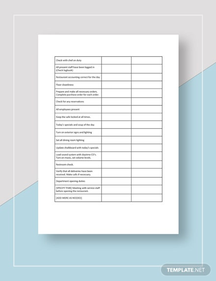 restaurant manager opening checklist Template