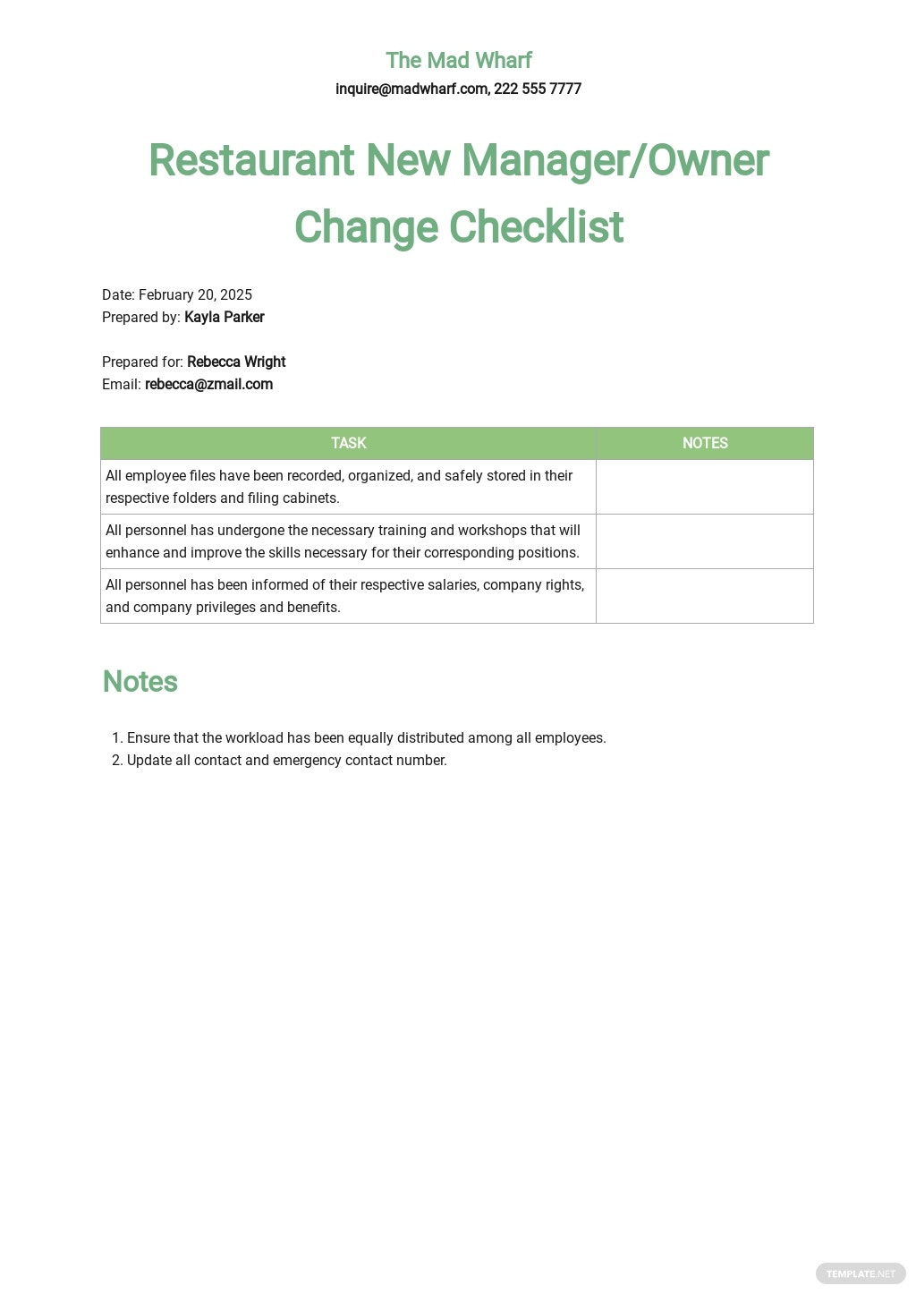 Restaurant New Manager / Owner Change Checklist Template