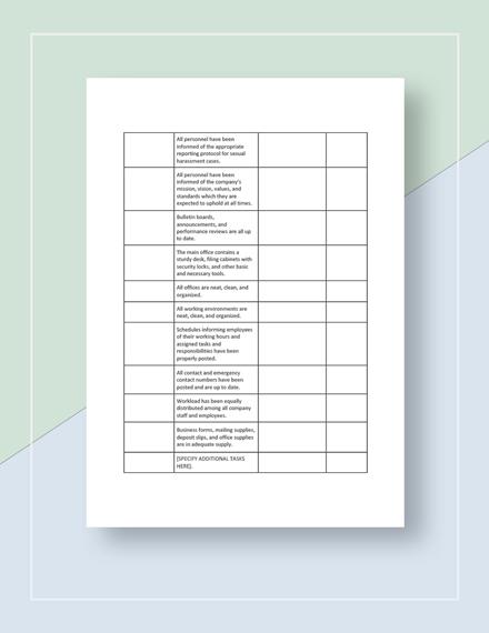Restaurant New Manager  Owner Change Checklist Template