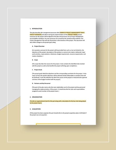 Sample Simple Project Management Plan