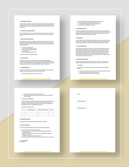 Printable Simple Project Management Plan