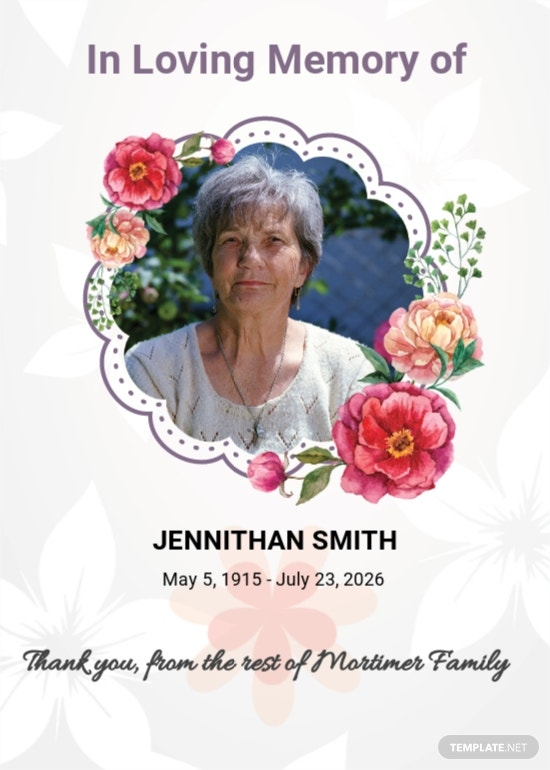 Floral Funeral Thank You Card Template