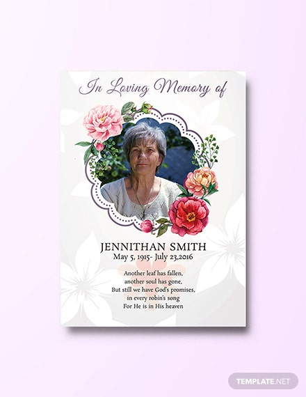Free Floral Funeral Thank You Card