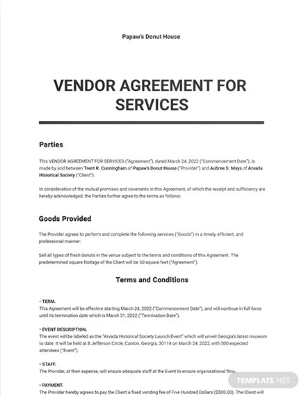Vendor Agreement for Services Template