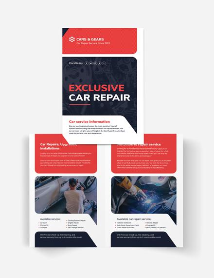 Auto Repair Service Bi-Fold Brochure Template