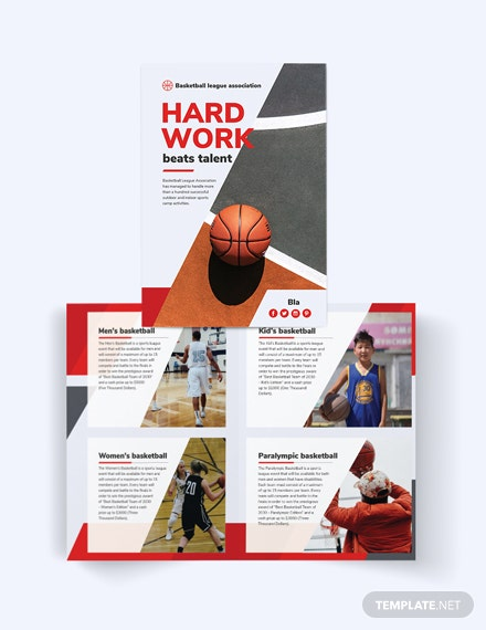 Basketball Bi-Fold Brochure Template