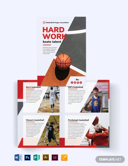 Basketball Bi-Fold Brochure Template