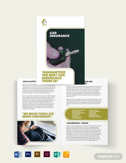 car insurance company bi fold brochure
