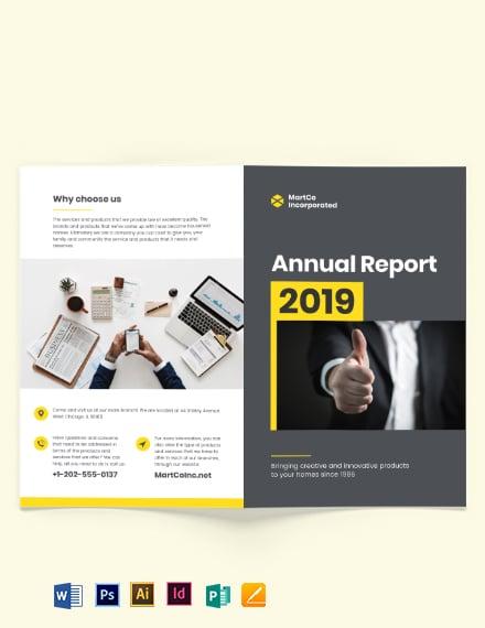 Company Annual Report Bi-Fold Brochure Template