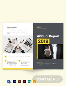 Company Annual Report Bi-Fold Brochure Template