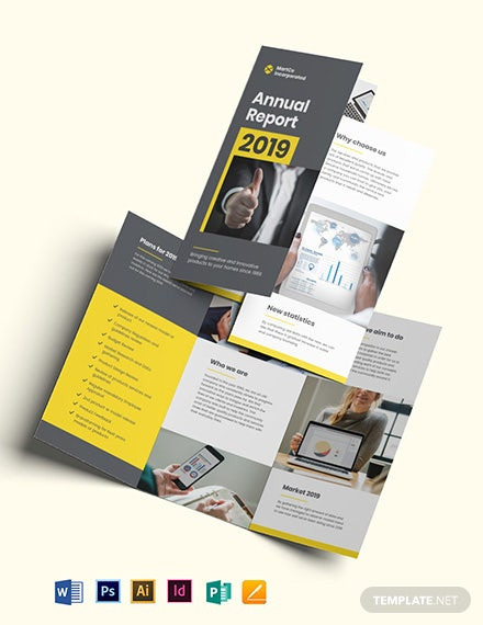 Company Annual Report Tri-Fold Brochure Template