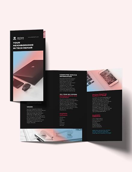 Computer Repair Tri-Fold Brochure Template