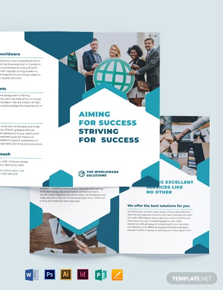 Corporate Company Bi-Fold Brochure Template