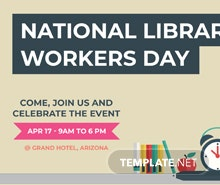 Free National Library Worker's Day YouTube Channel Cover Template