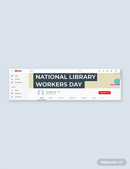 Free National Library Workers Day YouTube Channel Cover Template