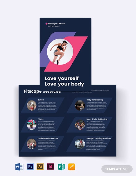 Fitness Center Bi-Fold Brochure Template