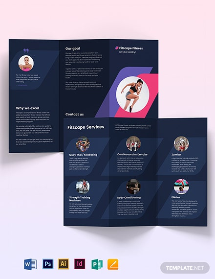 Fitness Center Tri-Fold Brochure Template