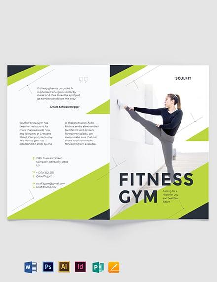 Fitness Gym Bi-Fold Brochure Template