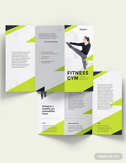 Fitness Gym Tri-Fold Brochure Template [Free Publisher] - Illustrator, InDesign, Word, Apple Pages, PSD