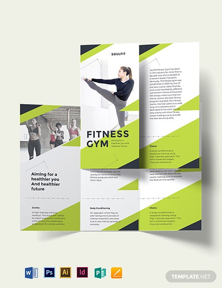 Fitness Gym Tri-Fold Brochure Template