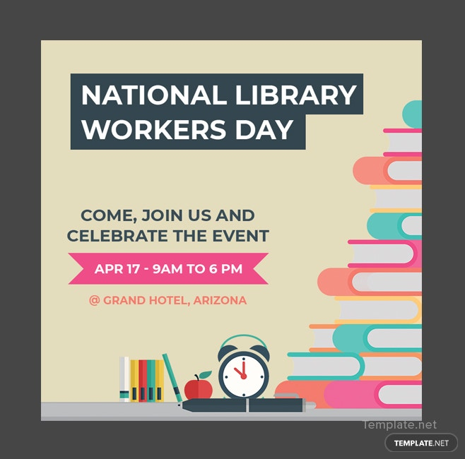 Free National Library Worker's Day YouTube Profile Photo template