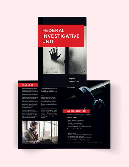 Investigator Bi-Fold Brochure Template
