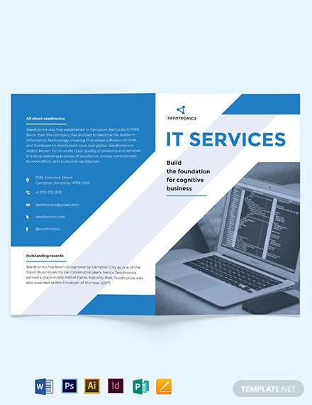 IT Business Bi-Fold Brochure Template