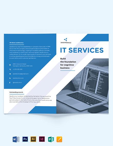 IT Business Bi-Fold Brochure Template