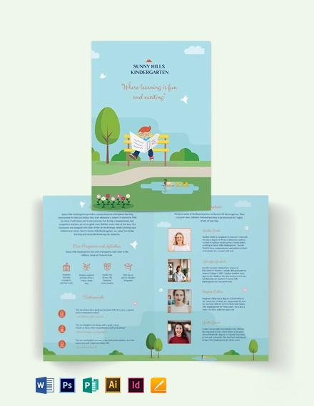 Kindergarden Bi-Fold Brochure Template