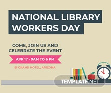 Free National Library Worker's Day YouTube Video Thumbnail Template