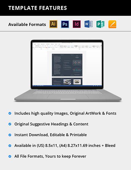Editable Retro Business TriFold Brochure