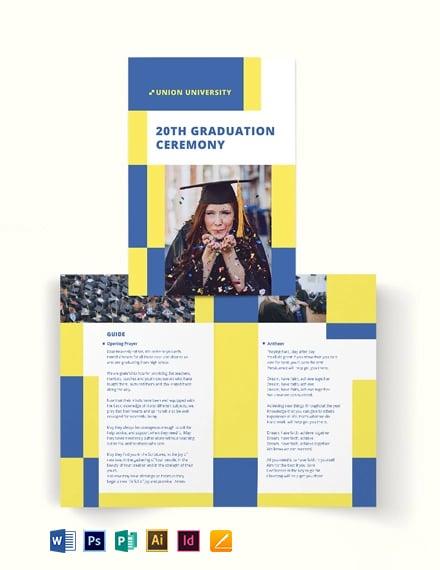 University Graduation Bi-Fold Brochure Template [Free Publisher] - Illustrator, InDesign, Word, Apple Pages, PSD