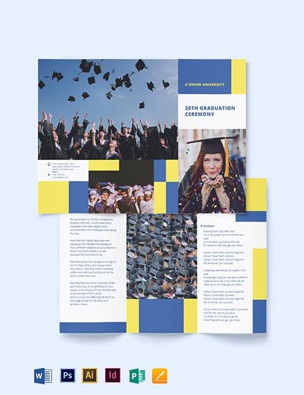 University Graduation TriFold Brochure Template