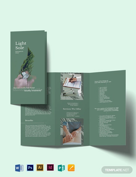 Chiropractic Clinic Tri-Fold Brochure Template