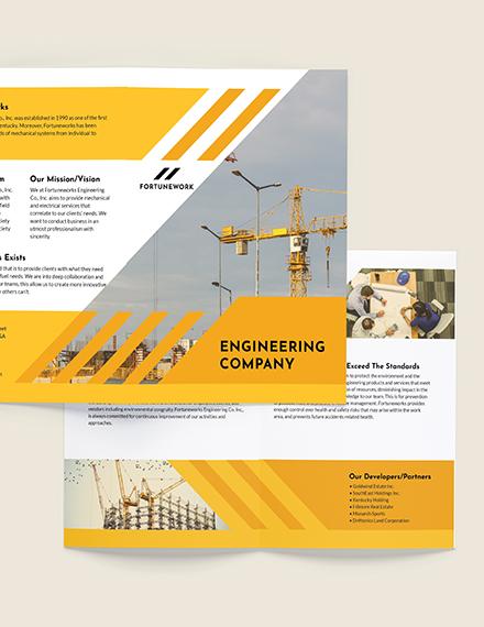 Engineering Company Bi-Fold Brochure Template