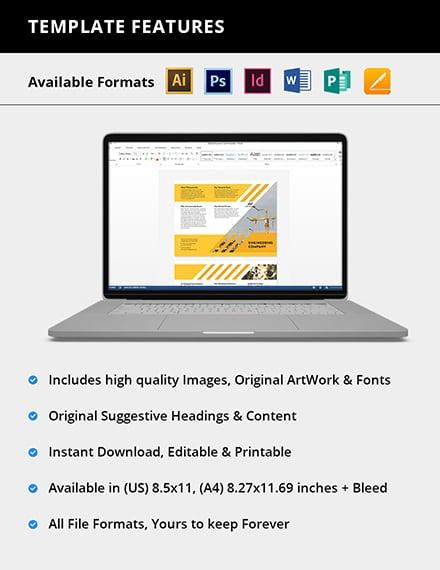 Editable Engineering Company TriFold Brochure