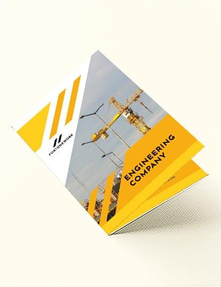 Editable Engineering Company Bi-Fold Brochure Template