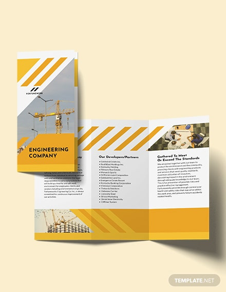 Professional Engineering Company Tri-Fold Brochure Template