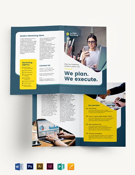 Marketing Business Bi-Fold Brochure Template
