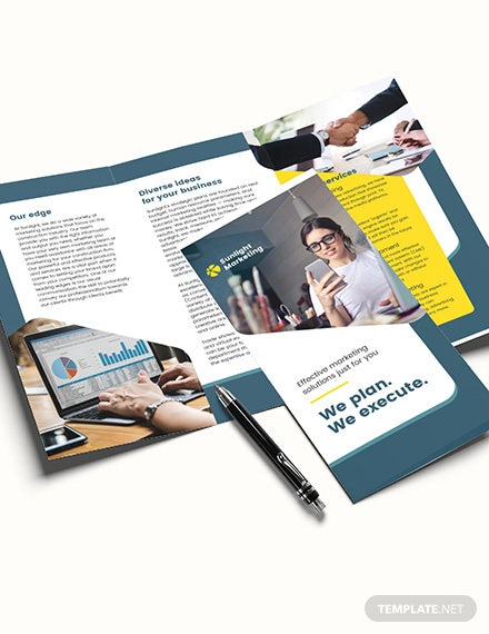 Sample Marketing Business TriFold Brochure Template