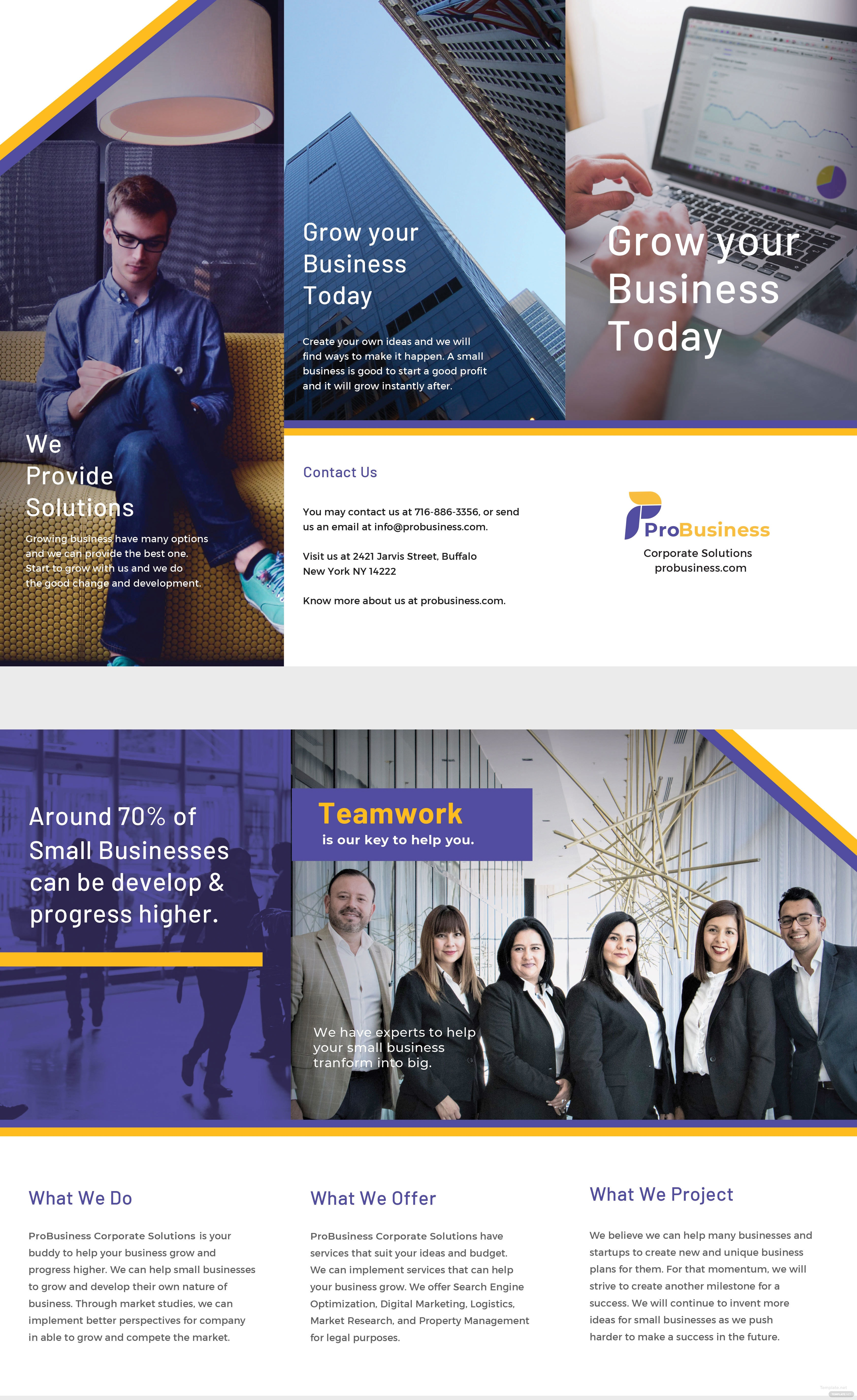 Free Corporate Business Brochure Template In Illustrator - Business brochure template
