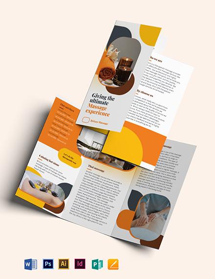 Massage TriFold Brochure Template