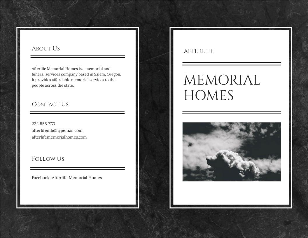 Memorial Bi-Fold Brochure Template [Free JPG] - Illustrator, InDesign, Word, Apple Pages, PSD