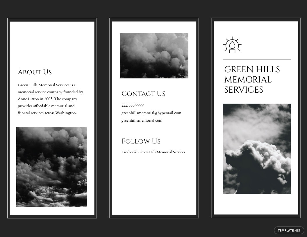 Memorial Tri-Fold Brochure Template [Free Publisher] - Illustrator, InDesign, Word, Apple Pages, PSD