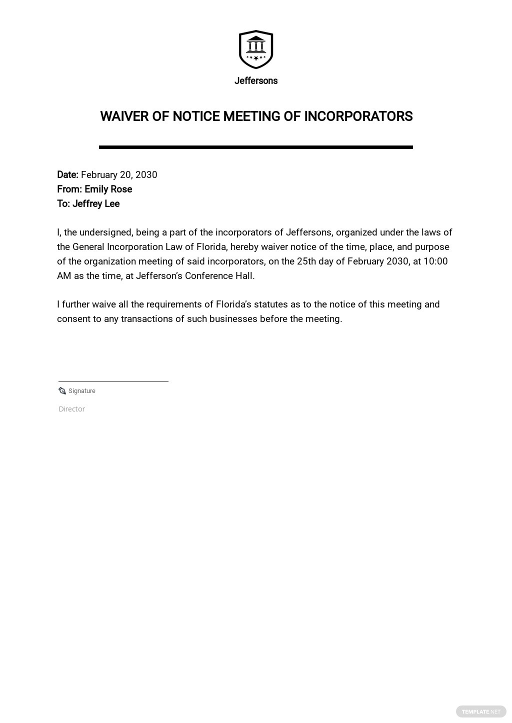Sample Waiver of Notice Meeting of Incorporators Template