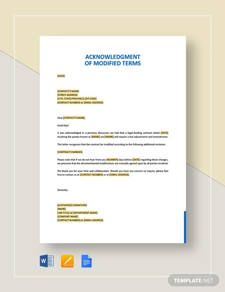 Acknowledgment of Modified Terms Template