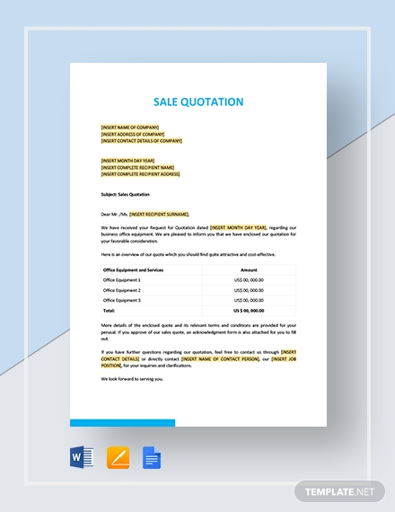 Sale quotation Template