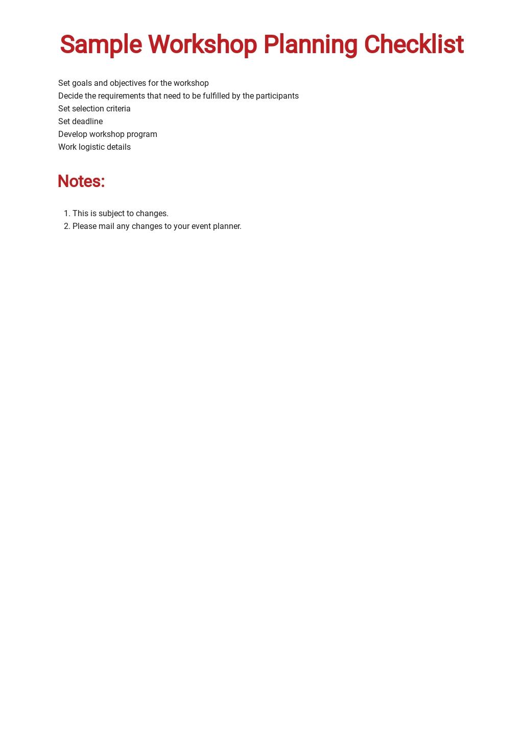 Sample Workshop Planning Checklist Template